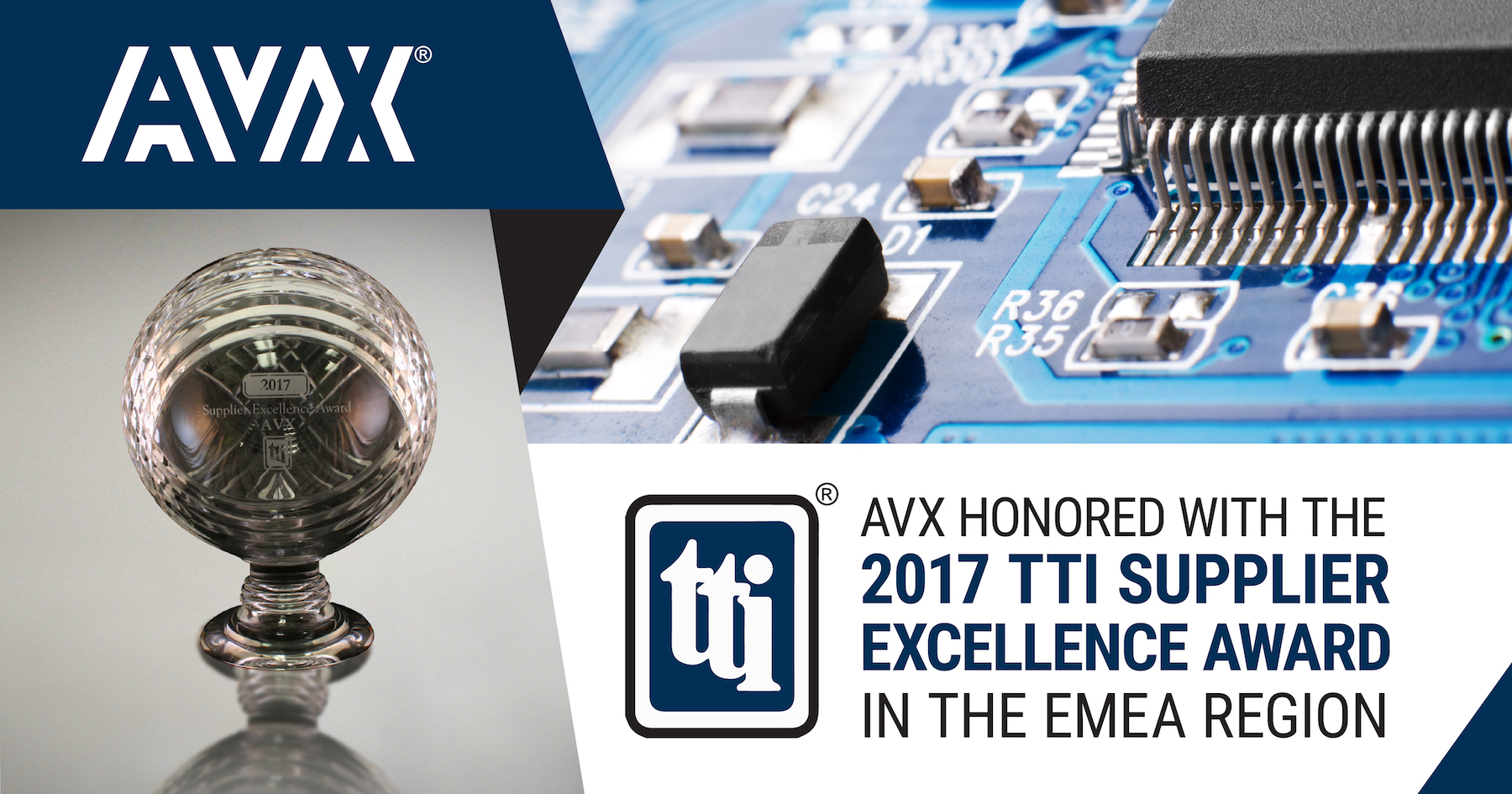 AVX Honored with 2017 TTI Supplier Excellence Award