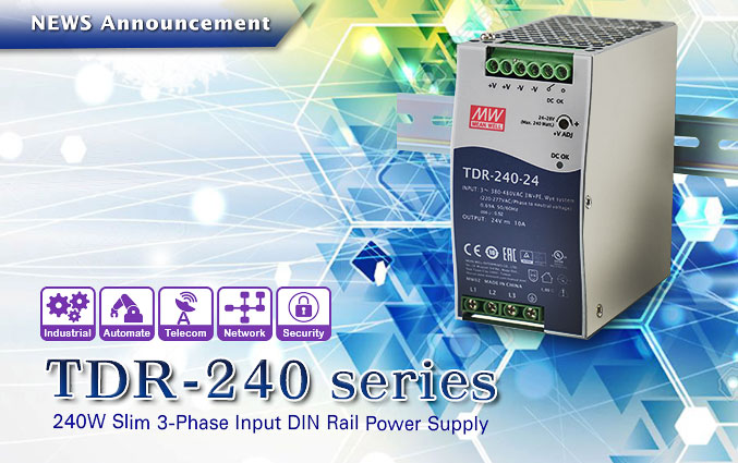 Slim 3-Phase Input DIN-Rail Power Supply