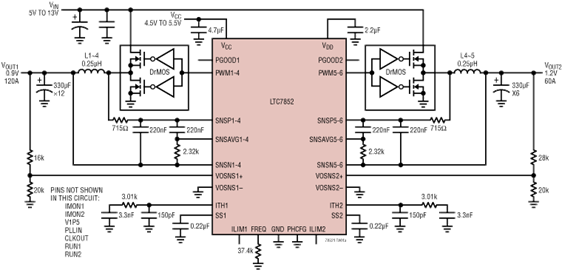 6-Phase Synchronous Controller with Current Monitoring