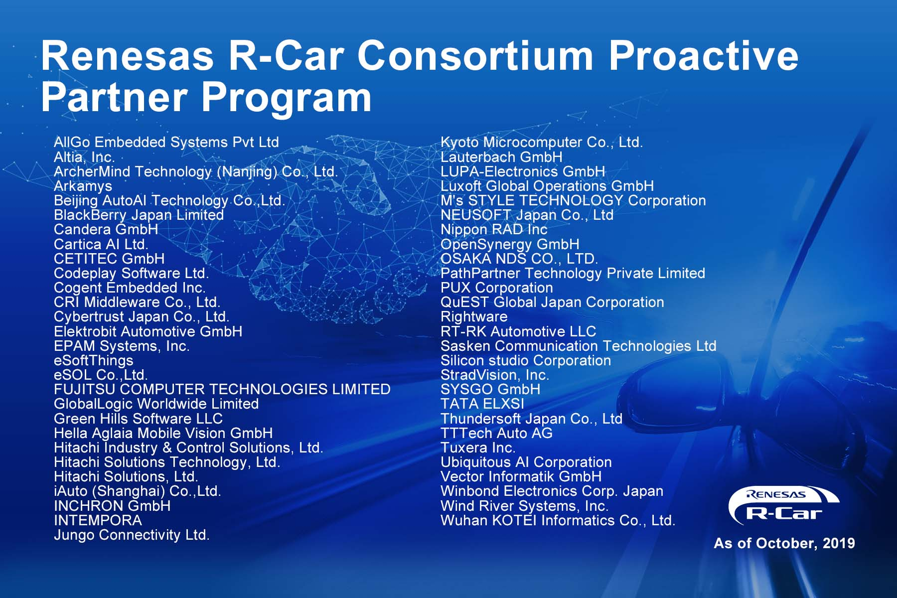 Renesas Electronics Unveils R-Car Consortium Partner Program