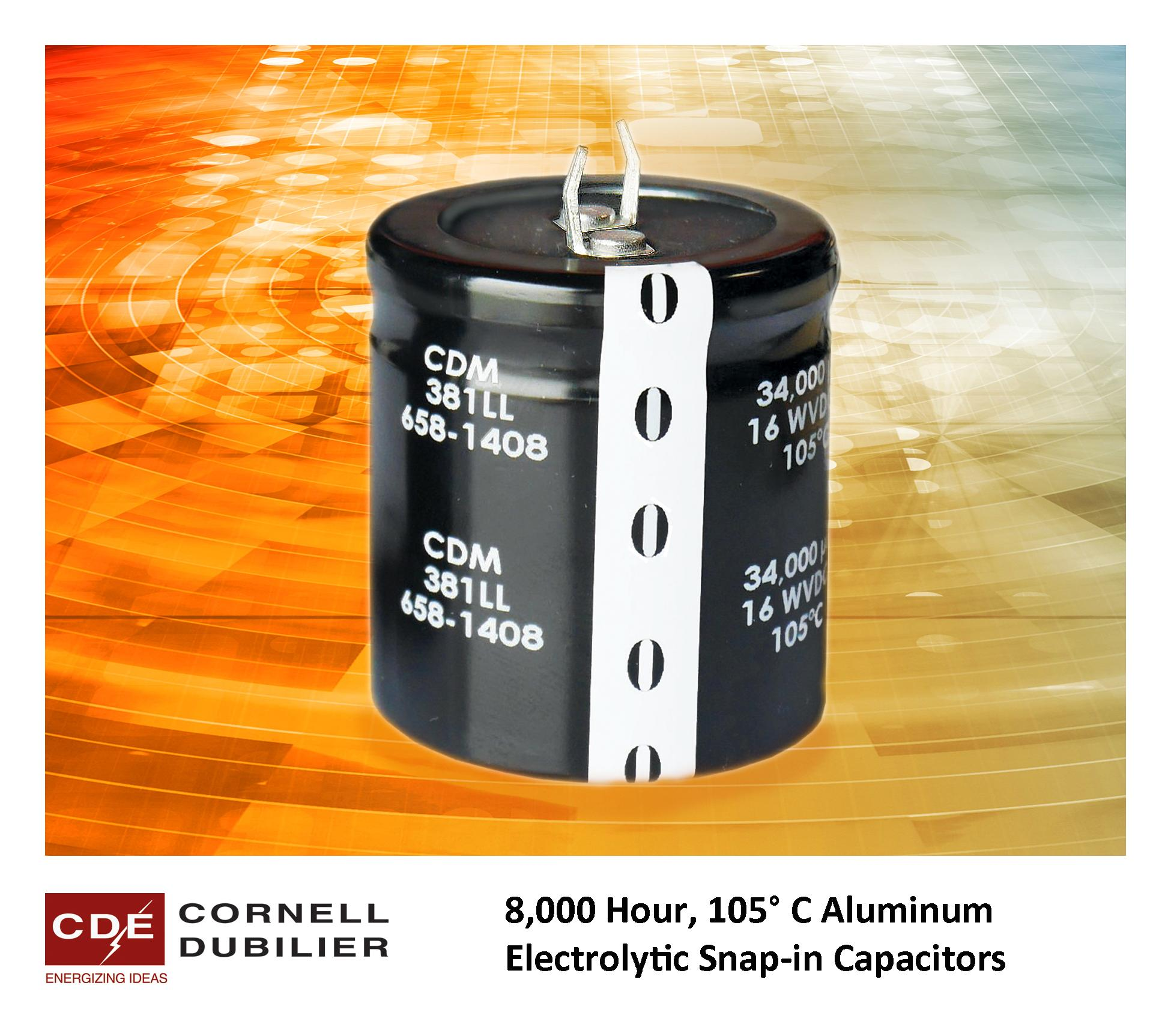 8,000 Hour, 105°C Aluminum Electrolytic Snap-in Capacitors