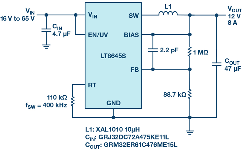 Monolithic 65 V, 8 A Step-Down Regulators with Fast Transient Response